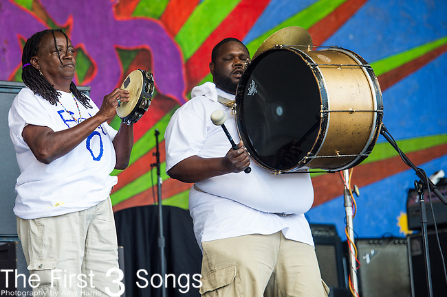 The Hot 8 Brass Band performs during the New Orleans Jazz & Heritage Festival in New Orleans, LA.