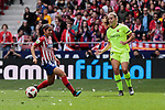 Atletico de Madrid's Vaitiare Kenti Robles and FC Barcelona's Lieke Martens during Liga Iberdrola match between Atletico de Madrid and FC Barcelona at Wanda Metropolitano Stadium in Madrid, Spain. March 17, 2019. (ALTERPHOTOS/A. Perez Meca)