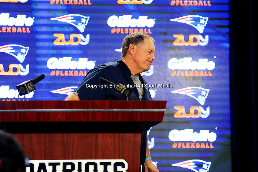 August 4, 2015: New England Patriots head coach Bill Belichick leaves the podium after a press conference at the New England Patriots training camp at Gillette Stadium, in Foxborough, Massachusetts. Eric Canha/CSM