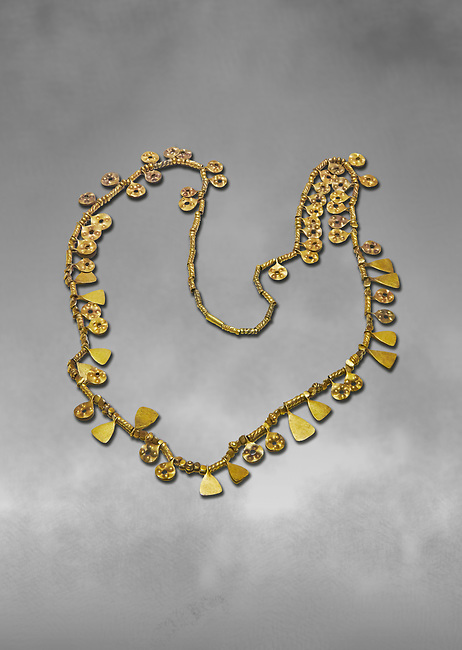 Bronze Age Hattian gold necklace from Grave MA,  possibly a Bronze Age Royal grave (2500 BC to 2250 BC) - Alacahoyuk - Museum of Anatolian Civilisations, Ankara, Turkey