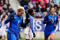 Harrison, NJ - Sunday March 04, 2018: Eugénie Le Sommer celebrates scoring during a 2018 SheBelieves Cup match match between the women's national teams of the United States (USA) and France (FRA) at Red Bull Arena.