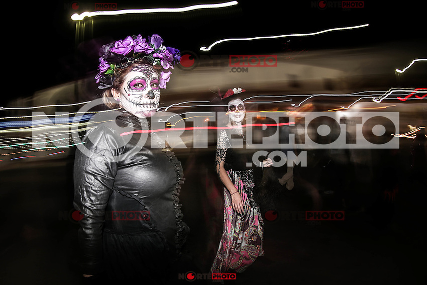 The Catrinas, mythical characters of Mexican popular culture, that are part of the tradition of the Day of the Dead, paraded through the streets of Hermosillo.<br /> (Photo:LuisGutierrez/NortePhoto.com)
