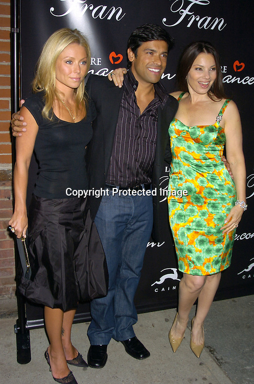 """Kelly Ripa, Mark Consuelos and Fran Drescher ..at The Premiere Party for """"Living with Fran""""  sponsored by ..Pureromance.com on April 8, 2005 at Cain Lounge. ..Photo by Robin Platzer, Twin Images"""