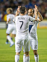 SANTA CLARA, CA - Wednesday November 7, 2012: LA Galaxy midfielder Landon Donovan (10) congratulates Robbie Keane on his goal during the San Jose Earthquakes vs the LA Galaxy at Buck Shaw Stadium in Santa Clara, CA. Final score, San Jose Earthquakes 1 and LA Galaxy 3. Total aggregate score San Jose Earthquakes 2 and LA Galaxy 3.