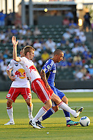 Tim Ream, Ryan Smith (blue)...Kansas City were defeated 3-0 by New York Red Bulls at Community America Ballpark, Kansas City, Kansas.