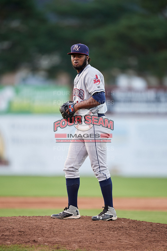 Mahoning Valley Scrappers relief pitcher Felix Tati (49) gets ready to deliver a pitch during a game against the Batavia Muckdogs on August 16, 2017 at Dwyer Stadium in Batavia, New York.  Batavia defeated Mahoning Valley 10-6.  (Mike Janes/Four Seam Images)