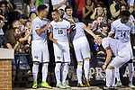 Steven Echevarria (15) is congratulated by teammate Brandon Servania (8) after scoring the first goal of the game against the Pitt Panthers at Spry Soccer Stadium on September 16, 2017 in Winston-Salem, North Carolina.  The Demon Deacons defeated the Panthers 2-0.  (Brian Westerholt/Sports On Film)