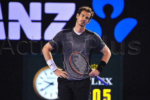 25.01.2016. Melbourne Park, Melbourne, Australia. Australian Open Tennis Championships. Start of week 2 of tournament.  Andy Murray (GBR) as he beats Tomic in 3 sets to advance