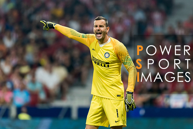 Goalkeeper Samir Handanovic of FC Internazionale reacts during their International Champions Cup Europe 2018 match between Atletico de Madrid and FC Internazionale at Wanda Metropolitano on 11 August 2018, in Madrid, Spain. Photo by Diego Souto / Power Sport Images