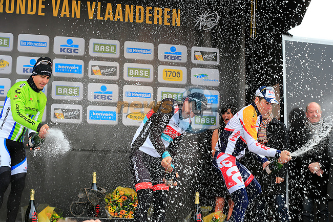 Fabian Cancellara (SUI) Radioshack Leopard Trek wins with Peter Sagan (SVK) Cannondale Pro Cycling in 2nd and Jurgen Roelandts (BEL) Lotto Belisol 3rd the race in Oudenaarde at the end of the 2013 Tour of Flanders, Belgium, Sunday 31st  March 2013 (Photo by Eoin Clarke 2013)