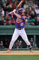First baseman Chris Williams (27) of the Clemson Tigers bats in the Reedy River Rivalry game against the South Carolina Gamecocks on Saturday, March 5, 2016, at Fluor Field at the West End in Greenville, South Carolina. Clemson won, 5-0. (Tom Priddy/Four Seam Images)