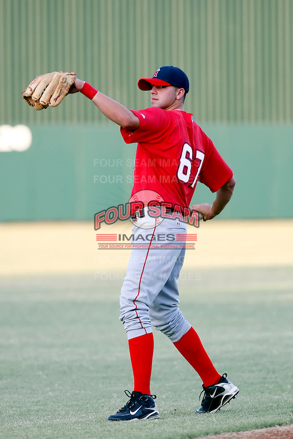Kaleb Cowart - AZL Angels. Cowart, the Angels 2010 first round pick, joined his new Arizona League teammates shortly after signing his contract on August 16th, just before the signing deadline. Cowart is seen here before the Angels game against the Cubs at Tempe Diablo Stadium..Photo by:  Bill Mitchell/Four Seam Images..