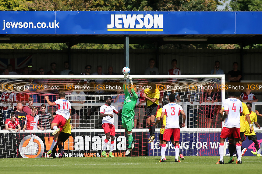 Watford goalkeeper, Sam Howe, makes a fine save to foil a Woking attack during Woking vs Watford, Friendly Match Football at The Laithwaite Community Stadium on 8th July 2017