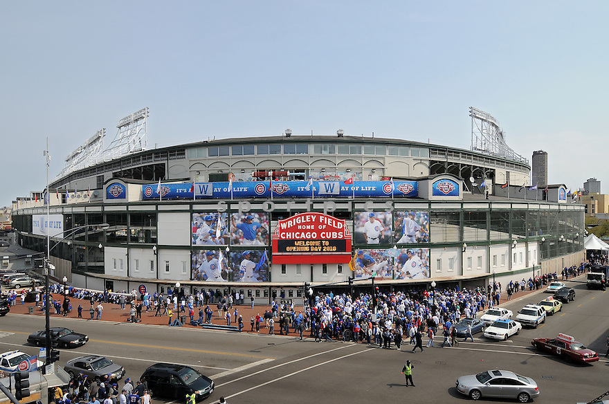 An outside view of Wrigley Field in Chicago, IL, before the Cubs Opening Day game on April 12, 2010. (AP Photo/Chris Bernacchi)
