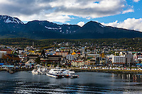 Argentina, Ushuaia, Antarctica expedition aboard the Hurtigruten FRAM ship. Leaving the port.