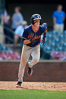 Rome Braves center fielder Drew Waters (11) runs to first base during a game against the Lexington Legends on May 23, 2018 at Whitaker Bank Ballpark in Lexington, Kentucky.  Rome defeated Lexington 4-1.  (Mike Janes/Four Seam Images)