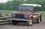 Very original brown1985 Land Rover 110 Defender 9-seater station wagon. RELEASES AVAILABLE. Automotive trademarks are the property of the trademark holder, authorization may be needed for some uses.
