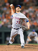 New York Mets relief pitcher Carlos Torres (72) pitches in the ninth inning against the Baltimore Orioles at Oriole Park at Camden Yards in Baltimore, Maryland on Wednesday, August 19, 2015.  The Orioles won the game 5 - 4.<br /> Credit: Ron Sachs / CNP<br /> (RESTRICTION: NO New York or New Jersey Newspapers or newspapers within a 75 mile radius of New York City)