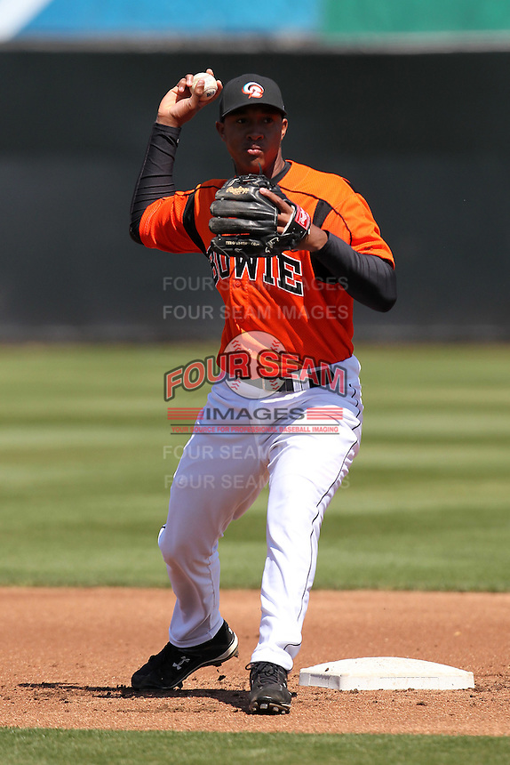 Bowie BaySox second baseman Jonathan Schoop #46 during practice before a game against the Harrisburg Senators at Prince George's Stadium on April 8, 2012 in Bowie, Maryland.  Harrisburg defeated Bowie 5-2.  (Mike Janes/Four Seam Images)