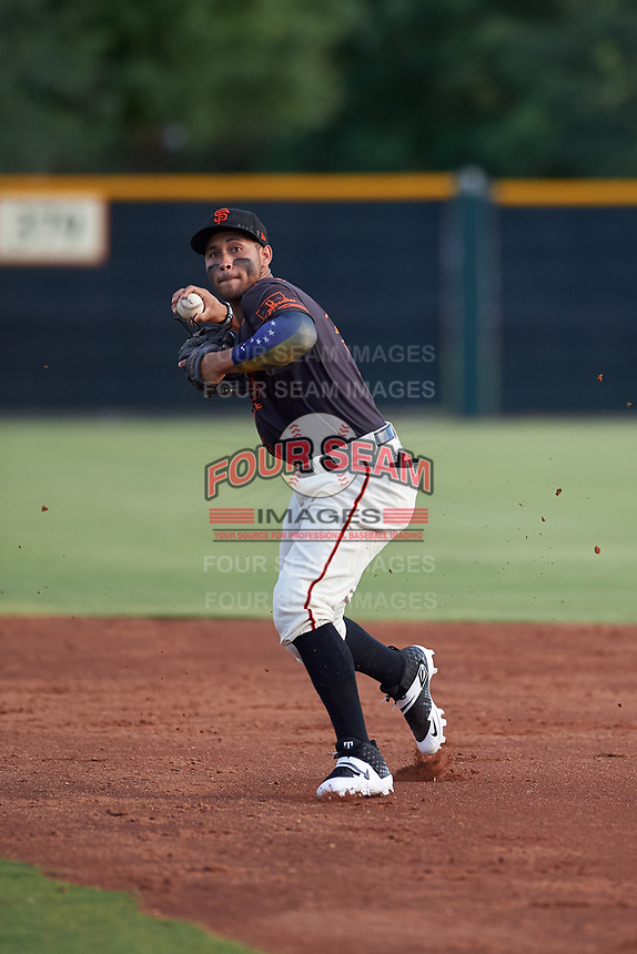 AZL Giants Black second baseman Jose Rivero (2) throws to first base during an Arizona League game against the AZL Giants Orange on July 19, 2019 at the Giants Baseball Complex in Scottsdale, Arizona. The AZL Giants Black defeated the AZL Giants Orange 8-5. (Zachary Lucy/Four Seam Images)