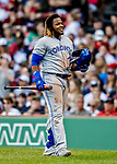 22 June 2019: Toronto Blue Jays third baseman Vladimir Guerrero Jr. returns to the dugout after striking out against the Boston Red Sox at Fenway :Park in Boston, MA. The Blue Jays rallied to defeat the Red Sox 8-7 in the 2nd game of their 3-game series. Mandatory Credit: Ed Wolfstein Photo *** RAW (NEF) Image File Available ***