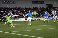Steven Anderson clears in the St Mirren v St Johnstone Clydesdale Bank Scottish Premier League match played at St Mirren Park, Paisley on 8.12.12.