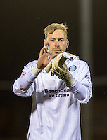 Goalkeeper Ryan Allsop of Wycombe Wanderers celebrates the win during the Sky Bet League 2 match between Dagenham and Redbridge and Wycombe Wanderers at the London Borough of Barking and Dagenham Stadium, London, England on 9 February 2016. Photo by Andy Rowland.