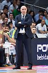 Real Madrid's coach Pablo Laso during the first match of the Semi Finals of Liga Endesa Playoff at Barclaycard Center in Madrid. June 02. 2016. (ALTERPHOTOS/Borja B.Hojas)