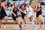20 November 2016: North Carolina's Stephanie Watts (5) and Bucknell's Claire DeBoer (12). The University of North Carolina Tar Heels hosted the Bucknell University Bisons at Carmichael Arena in Chapel Hill, North Carolina in a 2016-17 NCAA Women's Basketball game. UNC won the game 65-50.