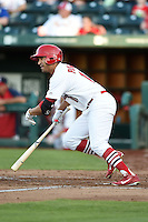 Springfield Cardinals outfielder David Popkins (16) at bat during a game against the Frisco Rough Riders on June 1, 2014 at Hammons Field in Springfield, Missouri.  Springfield defeated Frisco 3-2.  (Mike Janes/Four Seam Images)