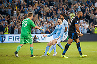 Kansas City, KS - Wednesday August 9, 2017: Tim Melia, Ilie Sanchez, Victor Bernardez, celebrate, celebration during a Lamar Hunt U.S. Open Cup Semifinal match between Sporting Kansas City and the San Jose Earthquakes at Children's Mercy Park.