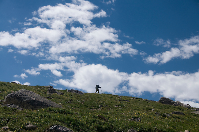 man hiking, (MR), hike, alpine, tundra, skyline, silhouette, sky, clouds, high elevation, recreation, outdoors, activity, August, morning, Rocky Mountain National Park, Colorado, USA