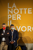 """(From R to L) Pierpaolo Bombardieri, General Secretary of UIL (Italian Labour Union, 3.) & Maurizio Landini, General Secretary of CGIL (Italian General Confederation of Labour, 1.<br /> <br /> Rome, 29/07/2020. Today, the three main Italian Trade Unions: CGIL (Italian General Confederation of Labour, General Secretary Maurizio Landini, 1.), CISL (Italian Confederation of Workers' Trade Union, General Secretary Anna Maria Furlan, 2.), UIL (Italian Labour Union, General Secretary Pierpaolo Bombardieri, 3.). held a demonstration in Piazza Santi Apostoli called """"La notte per il Lavoro. Ricostruire il Paese e l'Europa partendo dal buon lavoro"""" (The night for work. Rebuilding Italy and Europe from the good work). Given the crisis caused by the pandemic Covid-19 / Coronavirus, the three General Secretaries asked the Government to block layoffs, an extension of the social safety nets until the end of the year, a tax reform and the fight against tax evasion, the private and public national contractual renewals, investments, health, safety at work, Research, culture, tangible and intangible infrastructures, stable work, digitalization, South of Italy, social security, law on non self-sufficiency, social inclusion and solution of open company crises. Moreover, to urge the government to start an urgent discussion to plan the spending strategy that is about to be launched to use the resources of the EU """"Recovery Fund"""".<br /> <br /> Footnotes & Links:<br /> 1. http://cgil.it/ & https://bit.ly/2E1Al5a (Wikipedia)<br /> 2. https://www.cisl.it /& https://bit.ly/2tj5Txa (Wikipedia)<br /> 3. http://www.uil.it/ & https://bit.ly /2Glf88D (Wikipedia)<br /> 09.02.19 CGIL, CISL, UIL - Trade Unions National Demo in Rome #FuturoalLavoro http://bit.do/fG7GK"""