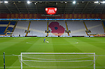 Ground-Staff prepare the pitch in front of a Poppy emblem  before the start of the FIFA World Cup Qualifying match at the Cardiff City Stadium, Cardiff. Picture date: November 12th, 2016. Pic Robin Parker/Sportimage