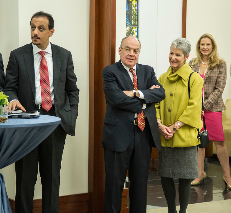 William E. Bennett, chair of DePaul University Board of Trustees and his wife Susan join guests gather at the Driehaus College of Business Thursday, Nov. 6, 2014, as Sheikh Faisal Bin Qassim Al Thani and DePaul University announce the creation of an entrepreneurship center on the school's Loop Campus. Sheikh Faisal is the chairman and CEO of Al Faisal Holding and one of Qatar's leading entrepreneurs. (DePaul University/Jamie Moncrief)