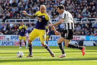 Pictured L-R: Jonjo Shelvey of Swansea against Mike Williamson of Newcastle. Saturday 19 April 2014<br /> Re: Barclay's Premier League, Newcastle United v Swansea City FC at St James Park, Newcastle, UK.