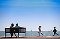 31/07/15<br /> <br /> As summer weather finally arrives, people enjoy the walk along Southsea promenade, Hampshire.<br /> <br /> <br /> All Rights Reserved - F Stop Press.  www.fstoppress.com. Tel: +44 (0)1335 418629 +44(0)7765 242650