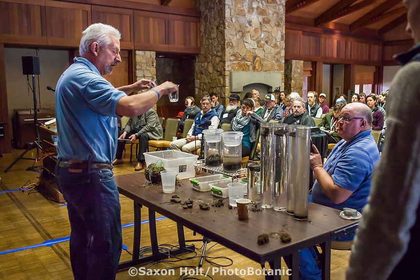 Ray Archuleta presentation on healthy soils with soils and water infiltration test presentation at Eco-Farm Conference 2018 with Gabe Brown assisting video stream