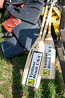 Paddles and life preservers used by the Dragon Boat racers. Dragon Festival Lake Phalen Park St Paul Minnesota USA