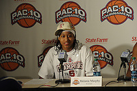 March 14, 2010.  Melanie Murphy during the post game interview after the Stanford Cardinal beat the UCLA Bruins to win the 2010 Pac-10 Tournament.