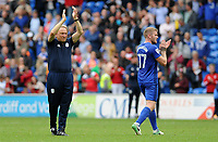 Cardiff City manager Neil Warnock  applauds the fans at the final whistle <br /> <br /> Photographer Ashley Crowden/CameraSport<br /> <br /> The EFL Sky Bet Championship - Cardiff City v Aston Villa - Saturday August 12th 2017 - Cardiff City Stadium - Cardiff<br /> <br /> World Copyright &copy; 2017 CameraSport. All rights reserved. 43 Linden Ave. Countesthorpe. Leicester. England. LE8 5PG - Tel: +44 (0) 116 277 4147 - admin@camerasport.com - www.camerasport.com