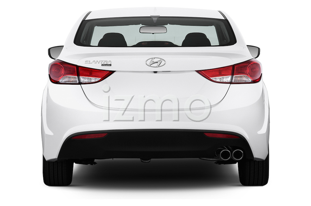 Straight rear view of a 2013 Hyundai Elantra Coupe