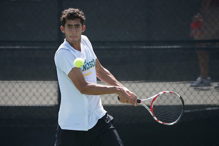 April 23, 2014; San Diego, CA, USA; San Francisco Dons player Bernardo Saraiva during the WCC Tennis Championships at Barnes Tennis Center.