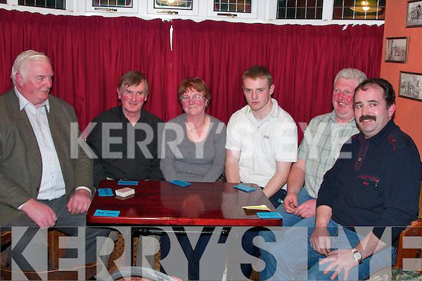 POKER: Taking part in the poker classic in Herbert's Bar, Kilflynn on Friday night were l-r: John Foley (Spa), Josephine Denihan (Tralee), Philip Twomey (Kilflynn), Pat Buckley and Richard Barrett (Tralee)..   Copyright Kerry's Eye 2008