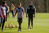 SWANSEA, WALES - JANUARY 28: Garry Monk, Manager of Swansea City looks on during training  on January 28, 2015 in Swansea, Wales.