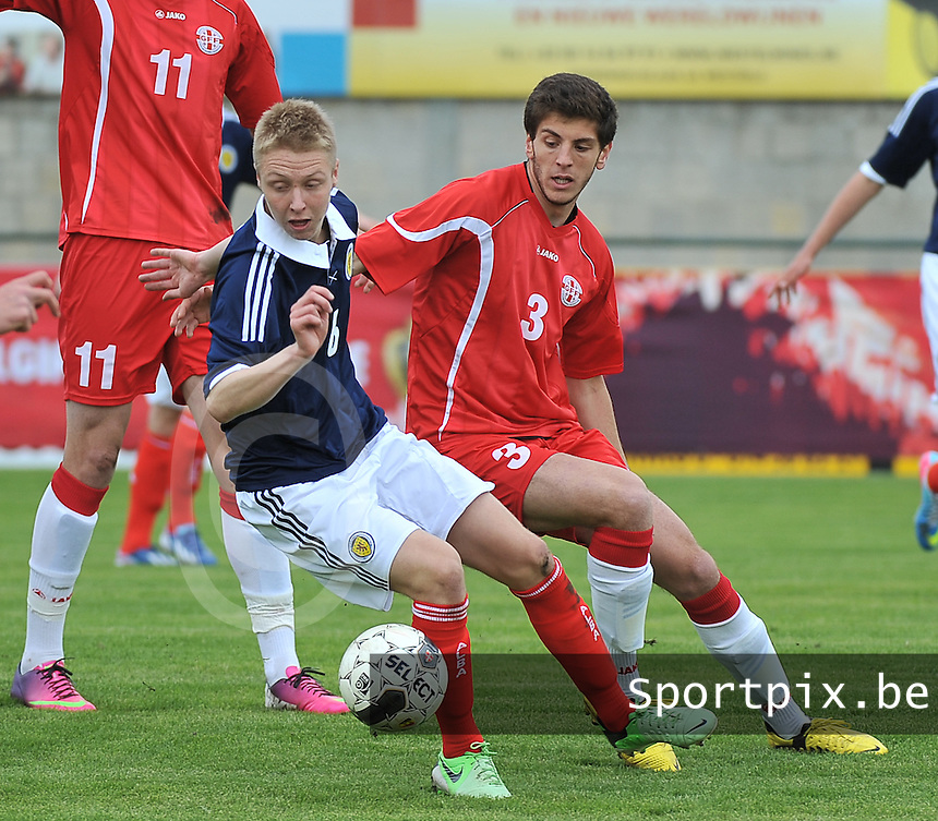 Scotland U19 - Georgia U19 : Jamie Lindsay (6) and Lasha Dvali (3).foto DAVID CATRY / Nikonpro.be