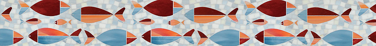 """6"""" Floating Fish border, a waterjet mosaic shown in Mica, Sardonyx, Garnet, Pearl, and Quartz, is part of the Erin Adams Collection for New Ravenna."""