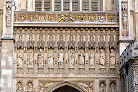 London, England.  Westminster Abbey, Christian Martyr Statues Carved in Stone on Facade, added 1998.  Martin Luther King Jr. and Archbishop Romero in center.