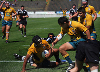 Australian players celebrate Ale Kotoni's try during the International rugby match between New Zealand Secondary Schools and Suncorp Australia Secondary Schools at Yarrows Stadium, New Plymouth, New Zealand on Friday, 10 October 2008. Photo: Dave Lintott / lintottphoto.co.nz
