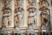"Medieval Gothic Sculptures of the South portal  of the Cathedral of Chartres, France. The portal shaows the Last Judgement and the small figures represent ""The Damned"". A UNESCO World Heritage Site."
